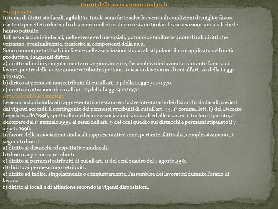 Diritti delle associazioni sindacali Area privata In tema di diritti sindacali, agibilità e tutele sono fatte salve le eventuali condizioni di miglior