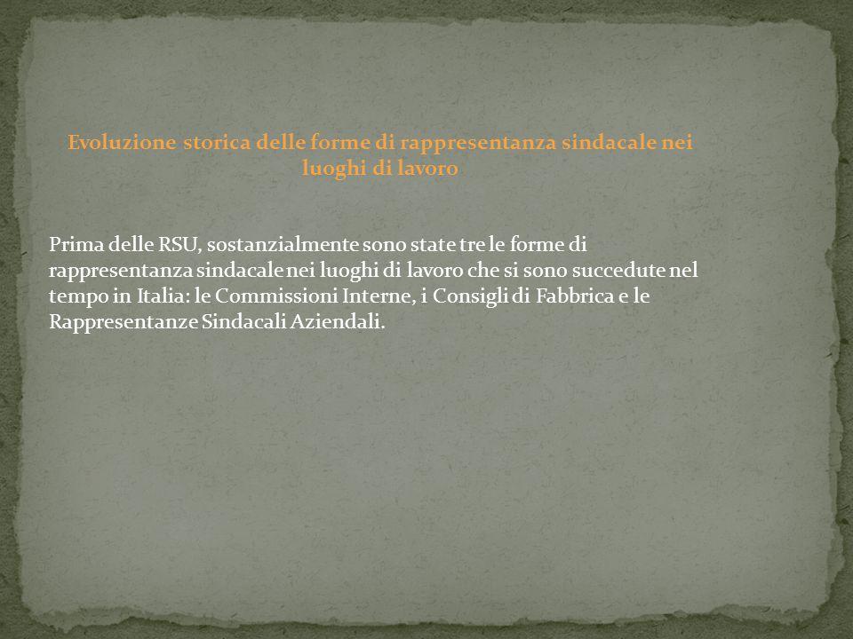 Le Rappresentanze Sindacali Aziendali E' la forma di rappresentanza sindacale in azienda introdotta dall'art.