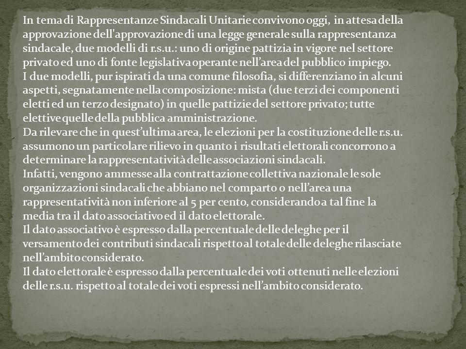 Precedenti e fonti I precedenti di questa forma di rappresentanza sindacale nei luoghi di lavoro vanno individuati nelle Commissioni Interne di cui all'Accordo interconfederale del 18 aprile 1966 e nelle Rappresentanze Sindacali Aziendali di cui all'art.