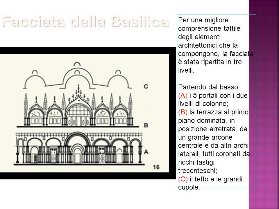 Per una migliore comprensione tattile degli elementi architettonici che la compongono, la facciata è stata ripartita in tre livelli. Partendo dal bass