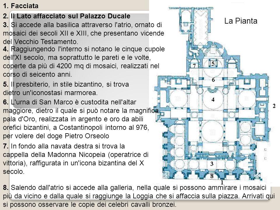 La Pianta 1. Facciata 2. Il Lato affacciato sul Palazzo Ducale 3. Si accede alla basilica attraverso l'atrio, ornato di mosaici dei secoli XII e XIII,