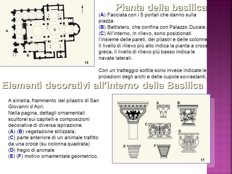 (A) Facciata con i 5 portali che danno sulla piazza. (B) Battistero, che confina con Palazzo Ducale. (C) All'interno, in rilievo, sono posizionati l'i