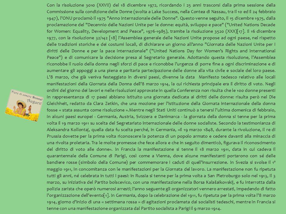 Con la risoluzione 3010 (XXVII) del 18 dicembre 1972, ricordando i 25 anni trascorsi dalla prima sessione della Commissione sulla condizione delle Donne (svolta a Lake Success, nella Contea di Nassau, tra il 10 ed il 24 febbraio 1947), l ONU proclamò il 1975 Anno Internazionale delle Donne .