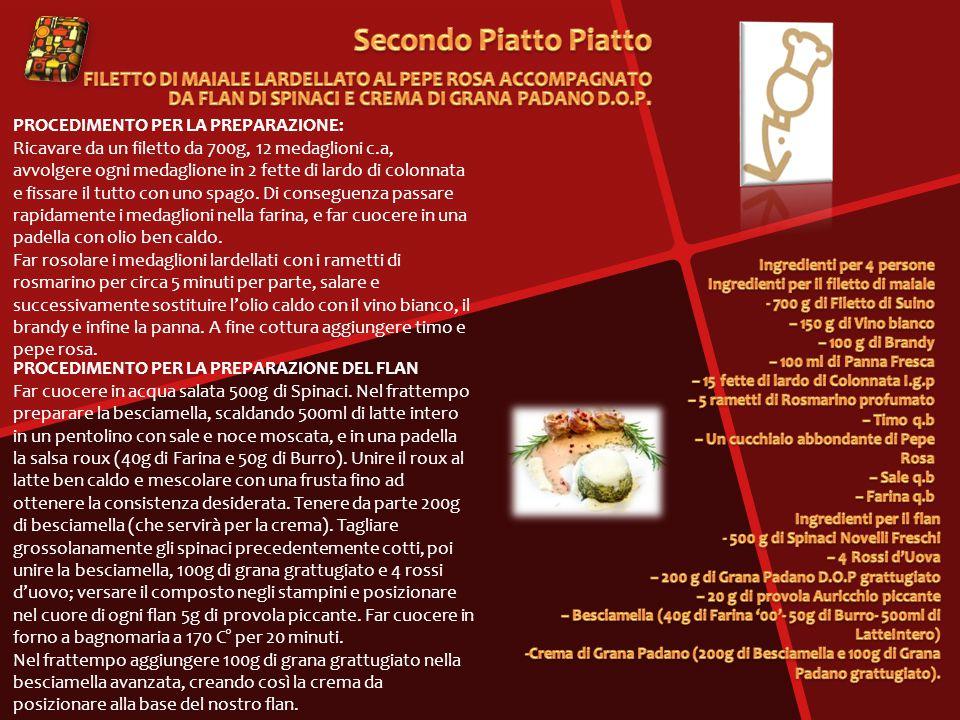 PROCEDIMENTO PER LA PREPARAZIONE: Ricavare da un filetto da 700g, 12 medaglioni c.a, avvolgere ogni medaglione in 2 fette di lardo di colonnata e fissare il tutto con uno spago.