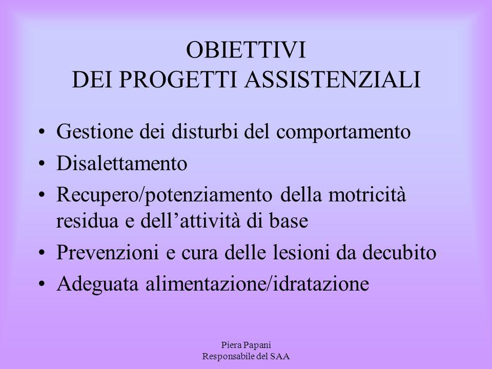 Piera Papani Responsabile del SAA OBIETTIVI DEI PROGETTI ASSISTENZIALI Gestione dei disturbi del comportamento Disalettamento Recupero/potenziamento d