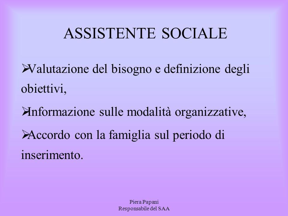 Piera Papani Responsabile del SAA ASSISTENTE SOCIALE  Valutazione del bisogno e definizione degli obiettivi,  Informazione sulle modalità organizzat