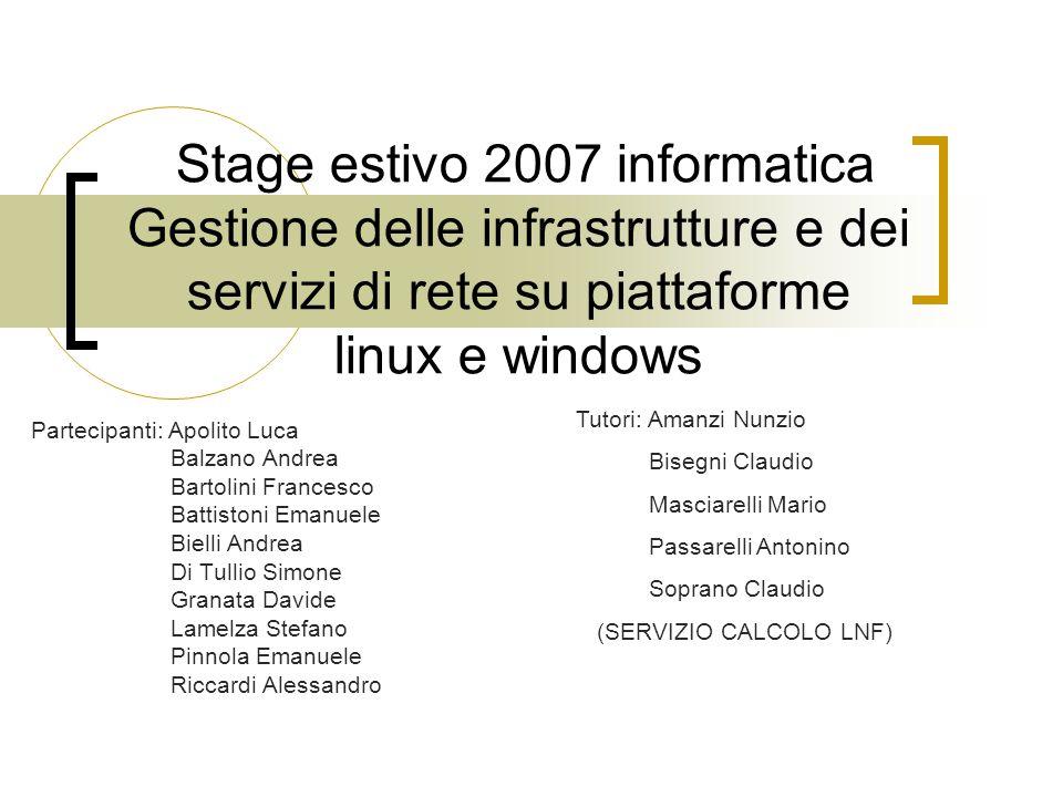 Stage estivo 2007 informatica Gestione delle infrastrutture e dei servizi di rete su piattaforme linux e windows Partecipanti: Apolito Luca Balzano An