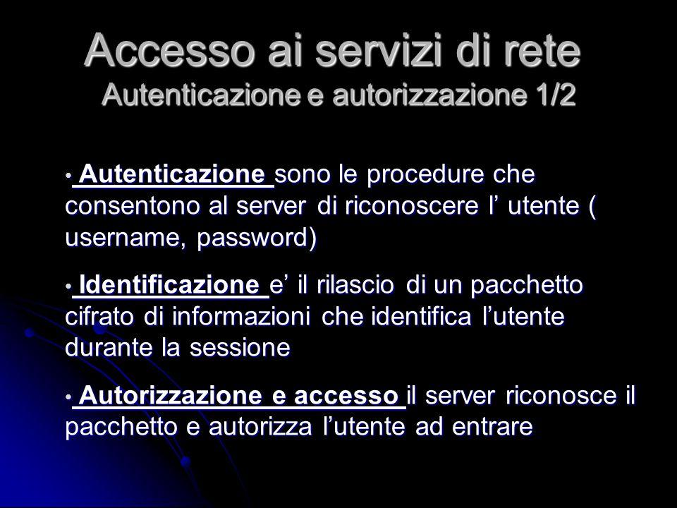 Autenticazione sono le procedure che consentono al server di riconoscere l' utente ( username, password) Autenticazione sono le procedure che consento