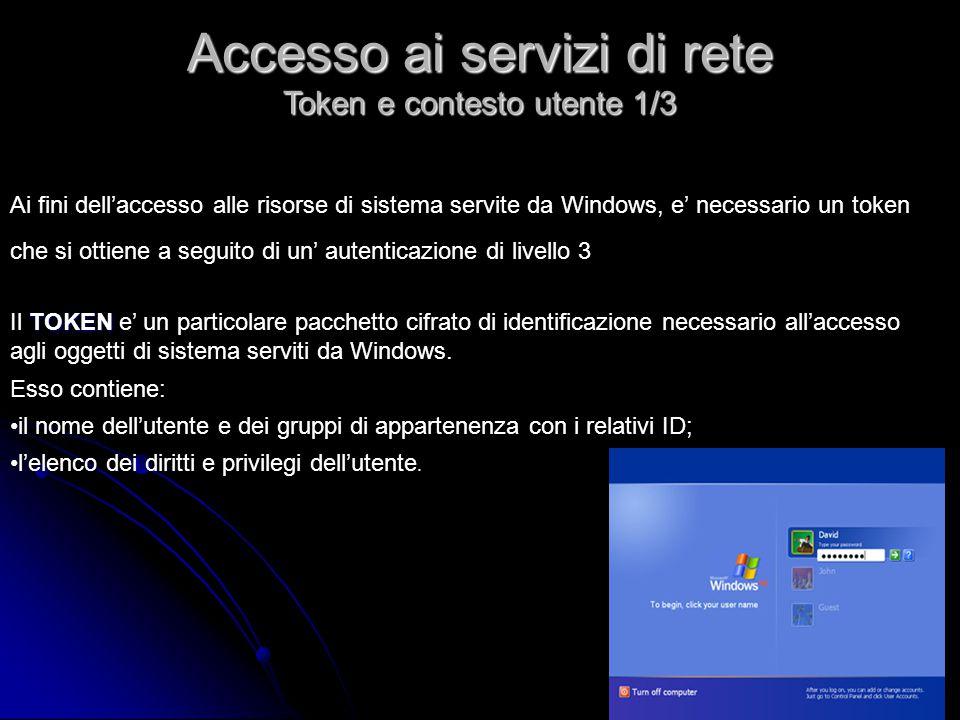 TOKEN Il TOKEN e' un particolare pacchetto cifrato di identificazione necessario all'accesso agli oggetti di sistema serviti da Windows. Esso contiene