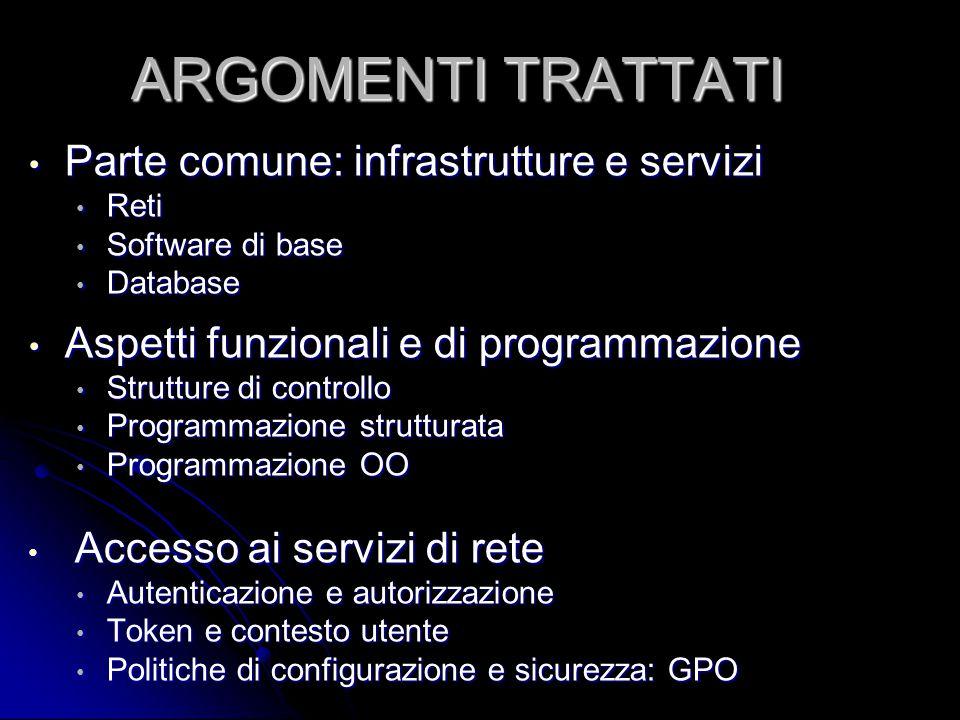 Parte comune: infrastrutture e servizi Parte comune: infrastrutture e servizi Reti Reti Software di base Software di base Database Database Aspetti fu