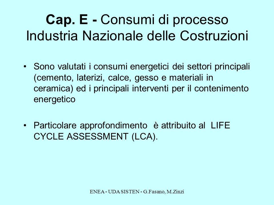 ENEA - UDA SISTEN - G.Fasano, M.Zinzi Sono valutati i consumi energetici dei settori principali (cemento, laterizi, calce, gesso e materiali in ceramica) ed i principali interventi per il contenimento energetico Particolare approfondimento è attribuito al LIFE CYCLE ASSESSMENT (LCA).