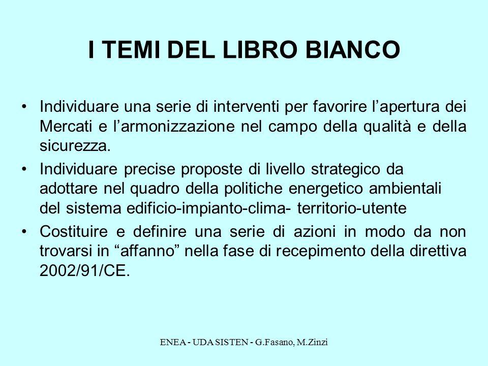 ENEA - UDA SISTEN - G.Fasano, M.Zinzi I TEMI DEL LIBRO BIANCO Individuare una serie di interventi per favorire l'apertura dei Mercati e l'armonizzazione nel campo della qualità e della sicurezza.