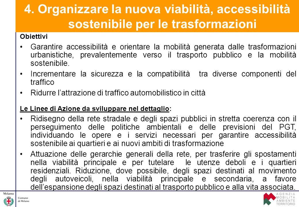 4. Organizzare la nuova viabilità, accessibilità sostenibile per le trasformazioni Obiettivi Garantire accessibilità e orientare la mobilità generata