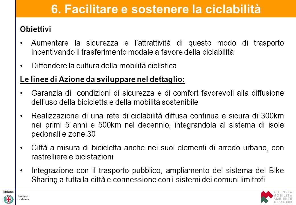 6. Facilitare e sostenere la ciclabilità Obiettivi Aumentare la sicurezza e l'attrattività di questo modo di trasporto incentivando il trasferimento m