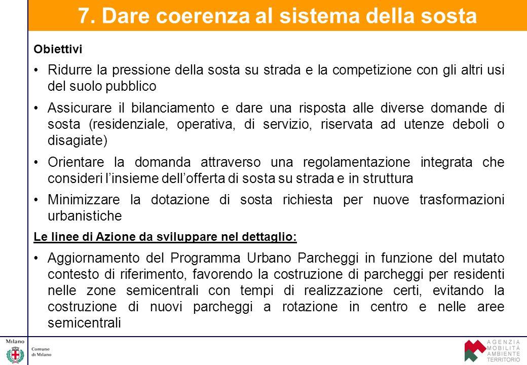 7. Dare coerenza al sistema della sosta Obiettivi Ridurre la pressione della sosta su strada e la competizione con gli altri usi del suolo pubblico As