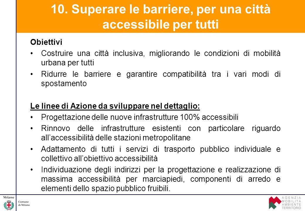 10. Superare le barriere, per una città accessibile per tutti Obiettivi Costruire una città inclusiva, migliorando le condizioni di mobilità urbana pe