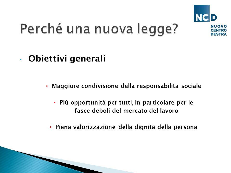 Obiettivi generali Maggiore condivisione della responsabilità sociale Più opportunità per tutti, in particolare per le fasce deboli del mercato del lavoro Piena valorizzazione della dignità della persona