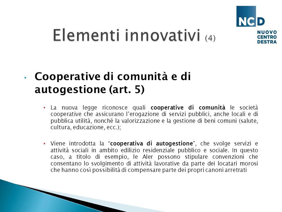 Cooperative di comunità e di autogestione (art.