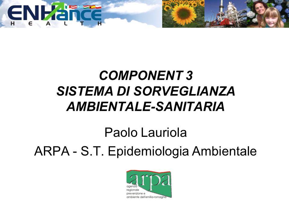 COMPONENT 3 SISTEMA DI SORVEGLIANZA AMBIENTALE-SANITARIA Paolo Lauriola ARPA - S.T. Epidemiologia Ambientale