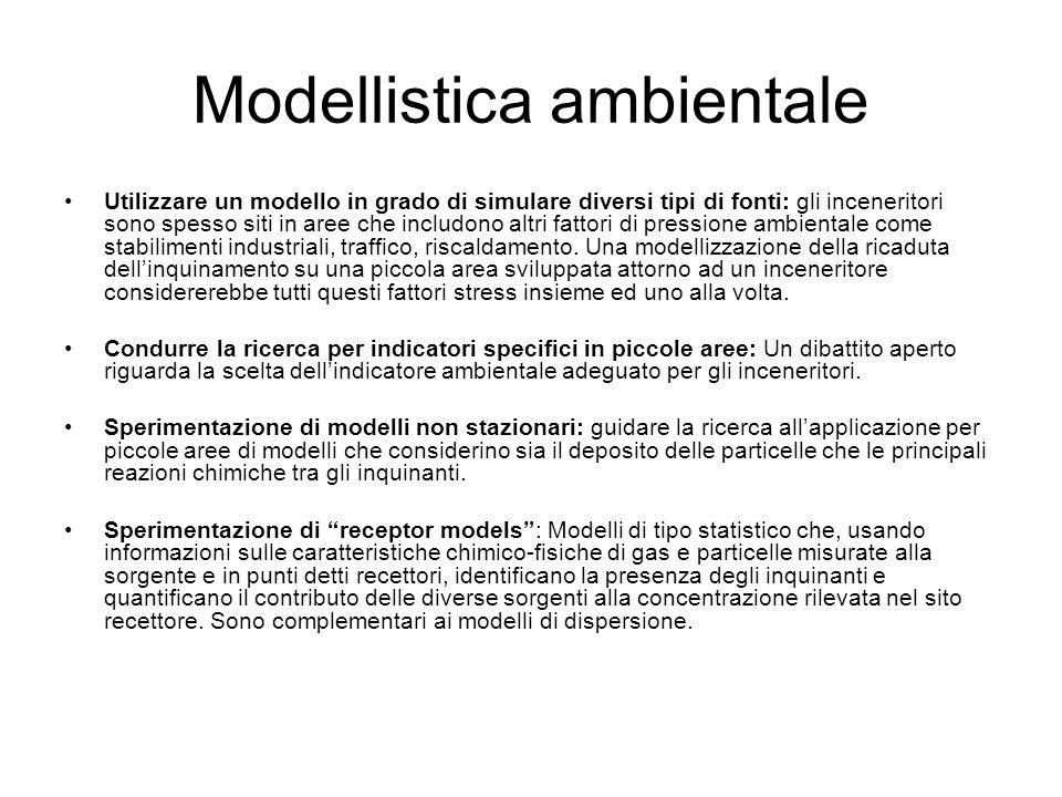 Modellistica ambientale Utilizzare un modello in grado di simulare diversi tipi di fonti: gli inceneritori sono spesso siti in aree che includono altr