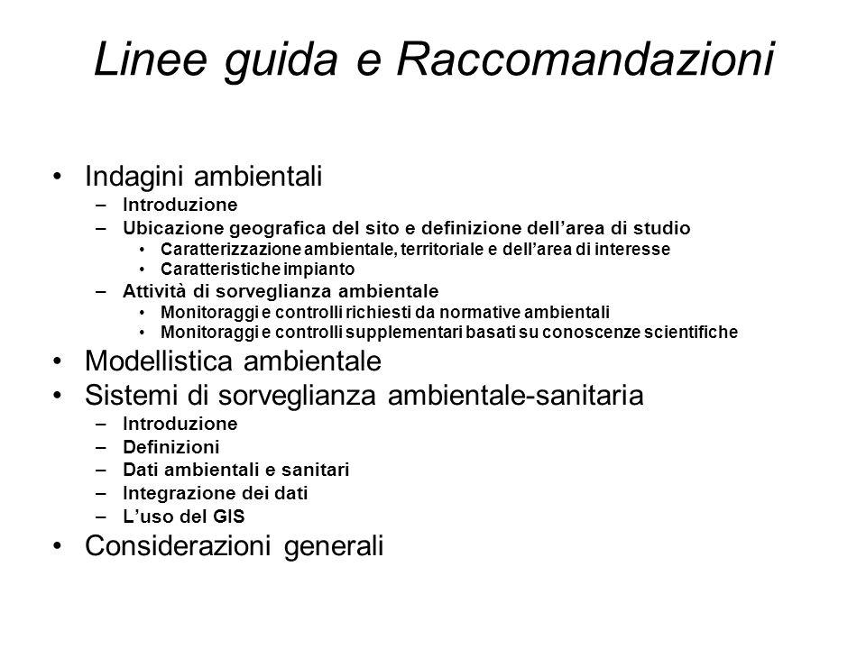 Linee guida e Raccomandazioni Indagini ambientali –Introduzione –Ubicazione geografica del sito e definizione dell'area di studio Caratterizzazione am