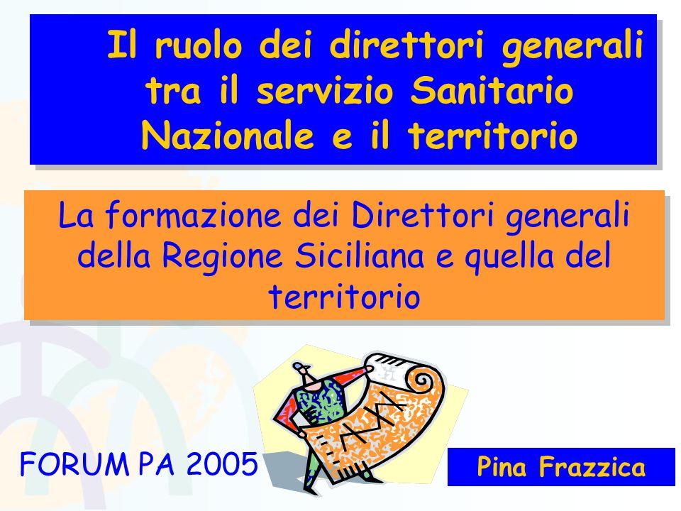 Pina Frazzica FORUM PA 2005 La formazione dei Direttori generali della Regione Siciliana e quella del territorio Il ruolo dei direttori generali tra il servizio Sanitario Nazionale e il territorio