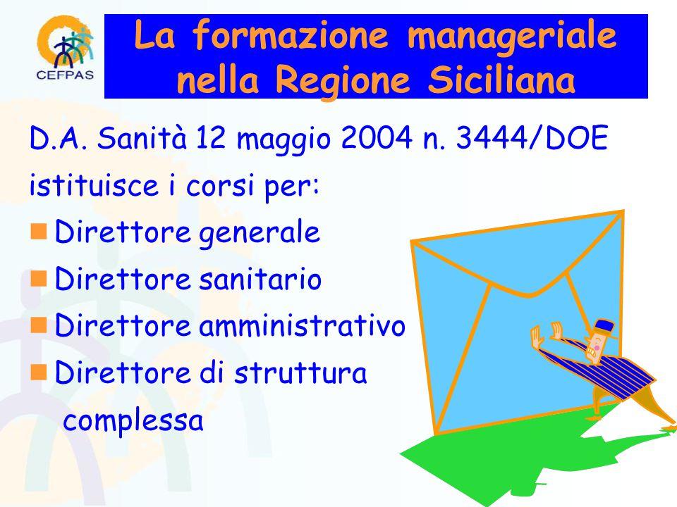 La formazione manageriale nella Regione Siciliana D.A.