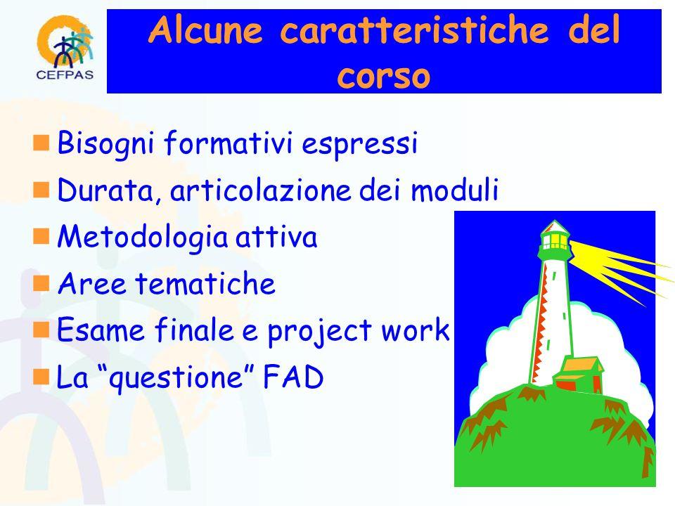 Alcune caratteristiche del corso  Bisogni formativi espressi  Durata, articolazione dei moduli  Metodologia attiva  Aree tematiche  Esame finale e project work  La questione FAD
