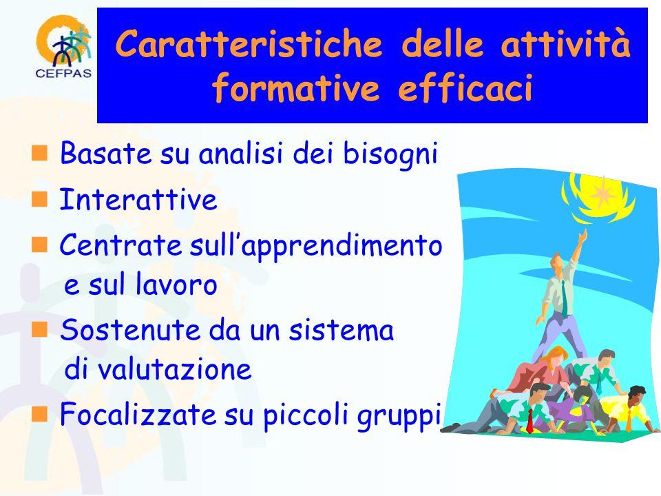 Caratteristiche delle attività formative efficaci  Basate su analisi dei bisogni  Interattive  Centrate sull'apprendimento e sul lavoro  Sostenute da un sistema di valutazione  Focalizzate su piccoli gruppi