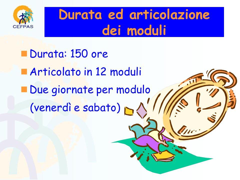 Durata ed articolazione dei moduli  Durata: 150 ore  Articolato in 12 moduli  Due giornate per modulo (venerdì e sabato)