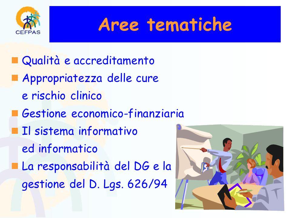 Aree tematiche  Qualità e accreditamento  Appropriatezza delle cure e rischio clinico  Gestione economico-finanziaria  Il sistema informativo ed informatico  La responsabilità del DG e la gestione del D.