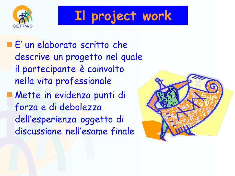  E' un elaborato scritto che descrive un progetto nel quale il partecipante è coinvolto nella vita professionale  Mette in evidenza punti di forza e di debolezza dell'esperienza oggetto di discussione nell'esame finale Il project work