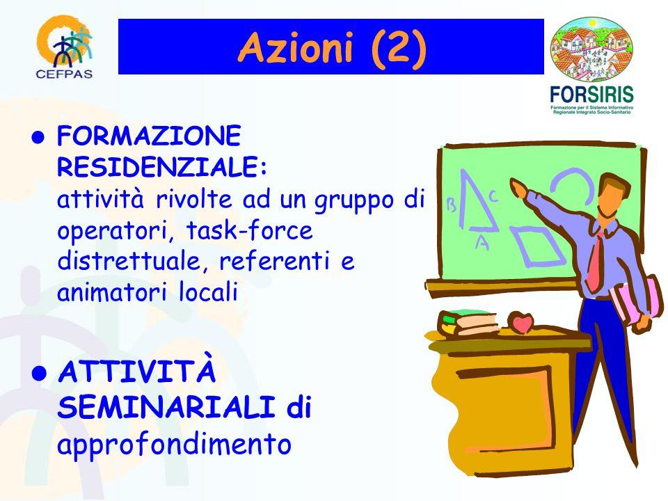 FORMAZIONE RESIDENZIALE: attività rivolte ad un gruppo di operatori, task-force distrettuale, referenti e animatori locali ATTIVITÀ SEMINARIALI di approfondimento Azioni (2)