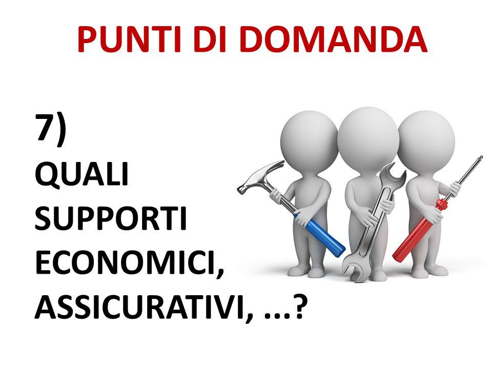 PUNTI DI DOMANDA 7) QUALI SUPPORTI ECONOMICI, ASSICURATIVI,...?