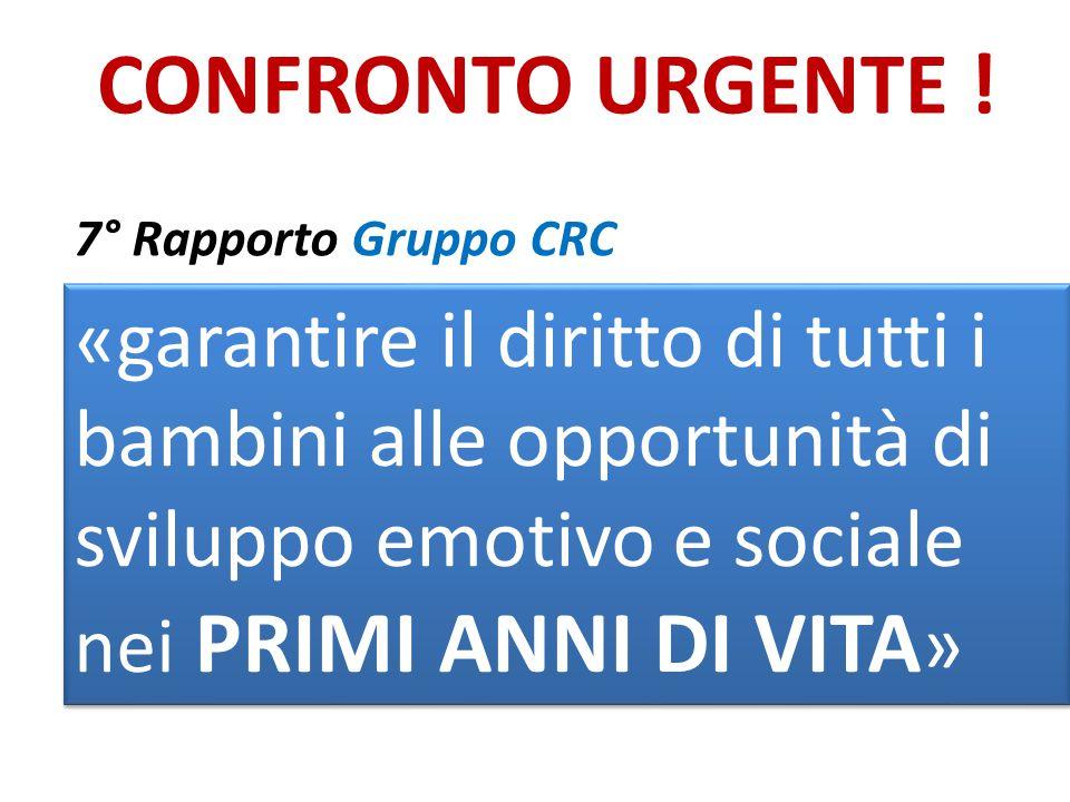 CONFRONTO URGENTE ! 7° Rapporto Gruppo CRC di aggiornamento sul monitoraggio della Convenzione ONU sui diritti dell'infanzia e dell'adolescenza in Ita