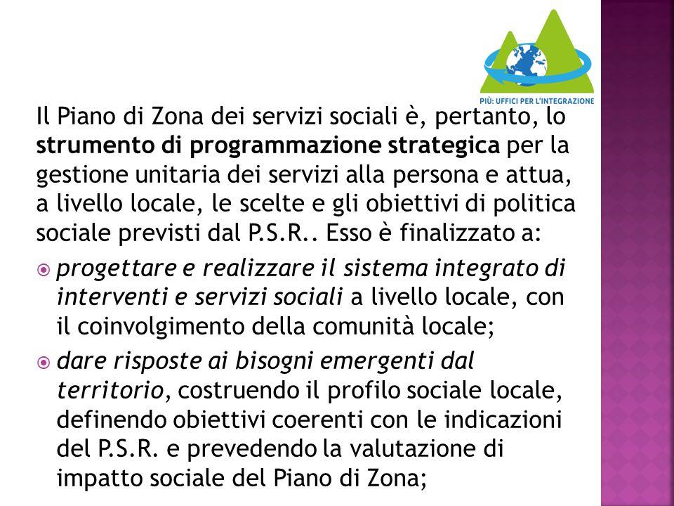 Il Piano di Zona dei servizi sociali è, pertanto, lo strumento di programmazione strategica per la gestione unitaria dei servizi alla persona e attua,