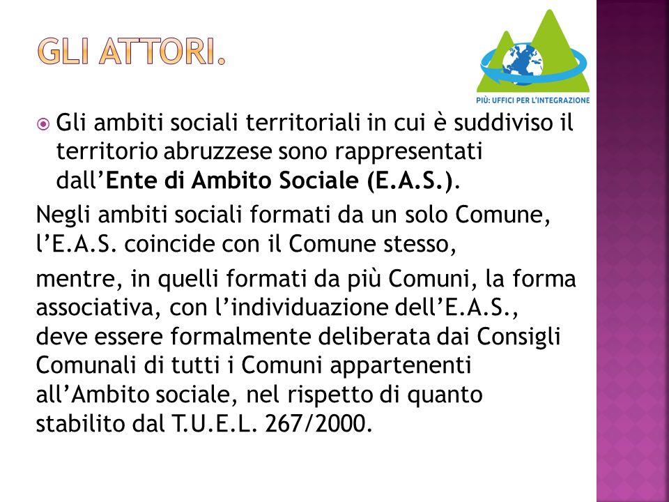  Gli ambiti sociali territoriali in cui è suddiviso il territorio abruzzese sono rappresentati dall'Ente di Ambito Sociale (E.A.S.). Negli ambiti soc