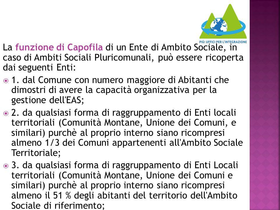 La funzione di Capofila di un Ente di Ambito Sociale, in caso di Ambiti Sociali Pluricomunali, può essere ricoperta dai seguenti Enti:  1. dal Comune