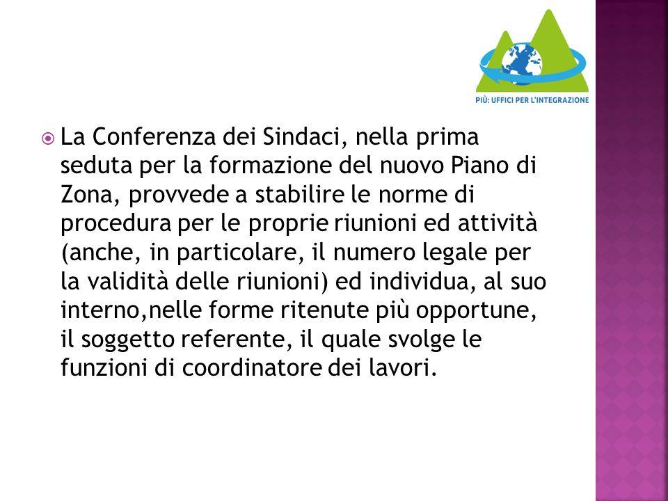  La Conferenza dei Sindaci, nella prima seduta per la formazione del nuovo Piano di Zona, provvede a stabilire le norme di procedura per le proprie r