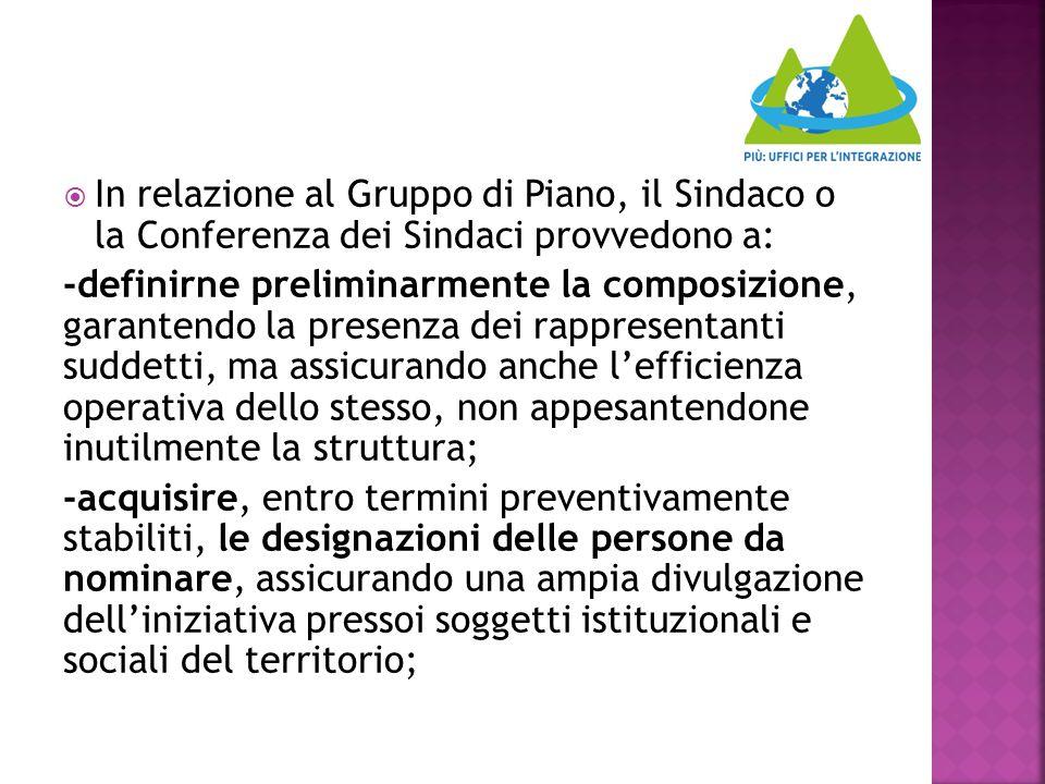  In relazione al Gruppo di Piano, il Sindaco o la Conferenza dei Sindaci provvedono a: -definirne preliminarmente la composizione, garantendo la pres