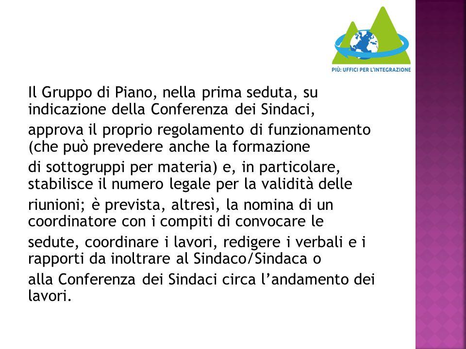 Il Gruppo di Piano, nella prima seduta, su indicazione della Conferenza dei Sindaci, approva il proprio regolamento di funzionamento (che può preveder