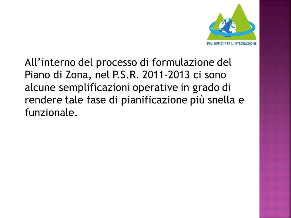 All'interno del processo di formulazione del Piano di Zona, nel P.S.R. 2011-2013 ci sono alcune semplificazioni operative in grado di rendere tale fas