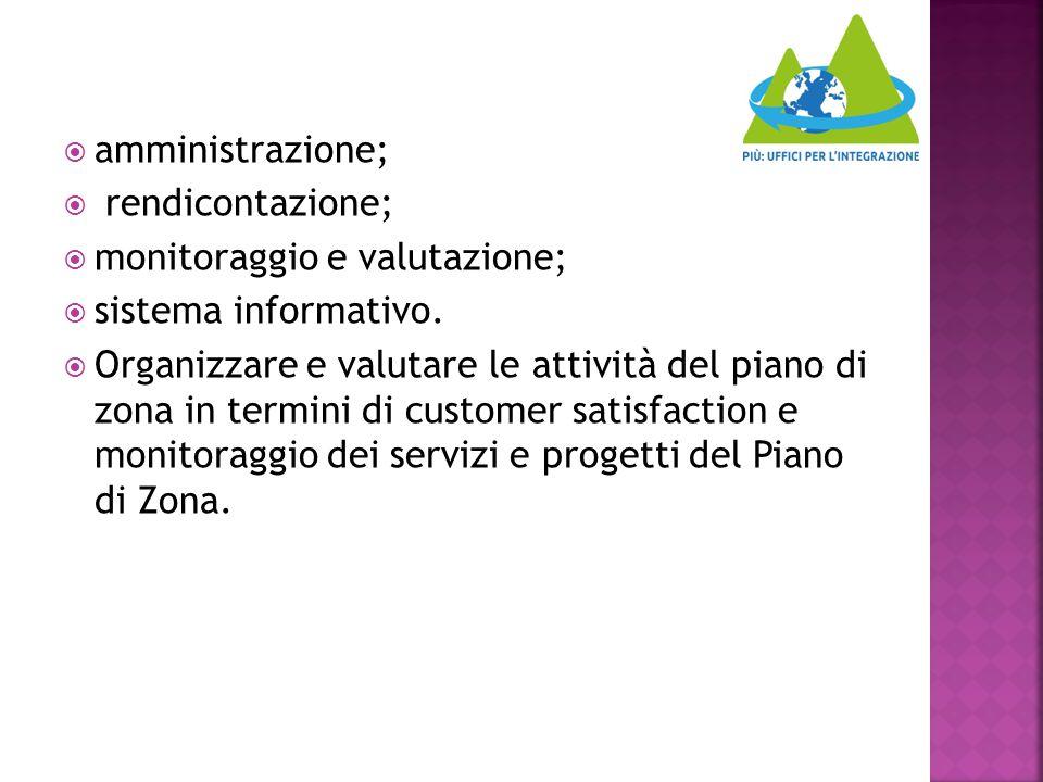  amministrazione;  rendicontazione;  monitoraggio e valutazione;  sistema informativo.  Organizzare e valutare le attività del piano di zona in t