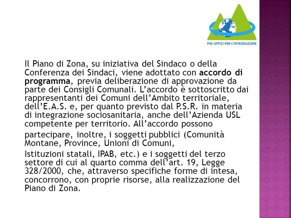 Il Piano di Zona, su iniziativa del Sindaco o della Conferenza dei Sindaci, viene adottato con accordo di programma, previa deliberazione di approvazi