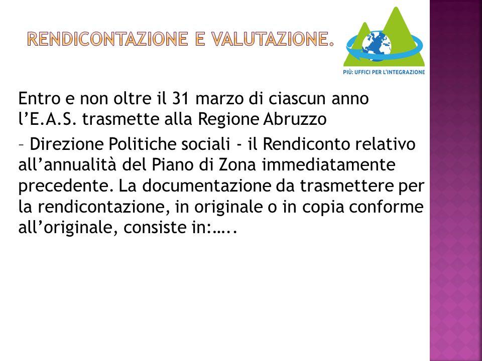 Entro e non oltre il 31 marzo di ciascun anno l'E.A.S. trasmette alla Regione Abruzzo – Direzione Politiche sociali - il Rendiconto relativo all'annua