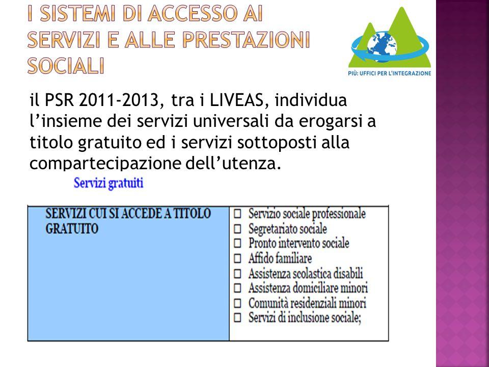 il PSR 2011-2013, tra i LIVEAS, individua l'insieme dei servizi universali da erogarsi a titolo gratuito ed i servizi sottoposti alla compartecipazion