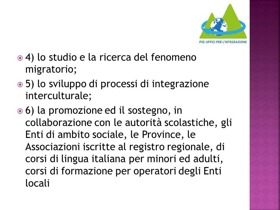  4) lo studio e la ricerca del fenomeno migratorio;  5) lo sviluppo di processi di integrazione interculturale;  6) la promozione ed il sostegno, i
