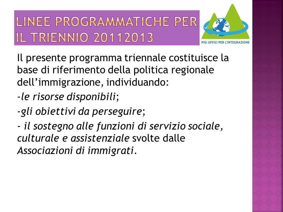 Il presente programma triennale costituisce la base di riferimento della politica regionale dell'immigrazione, individuando: -le risorse disponibili;
