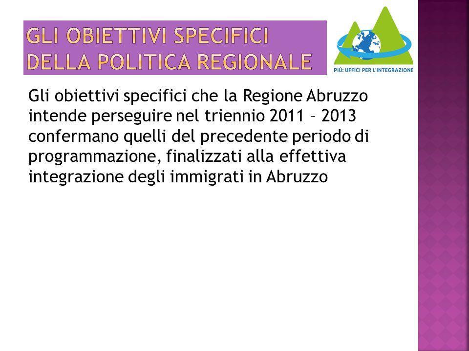 Gli obiettivi specifici che la Regione Abruzzo intende perseguire nel triennio 2011 – 2013 confermano quelli del precedente periodo di programmazione,