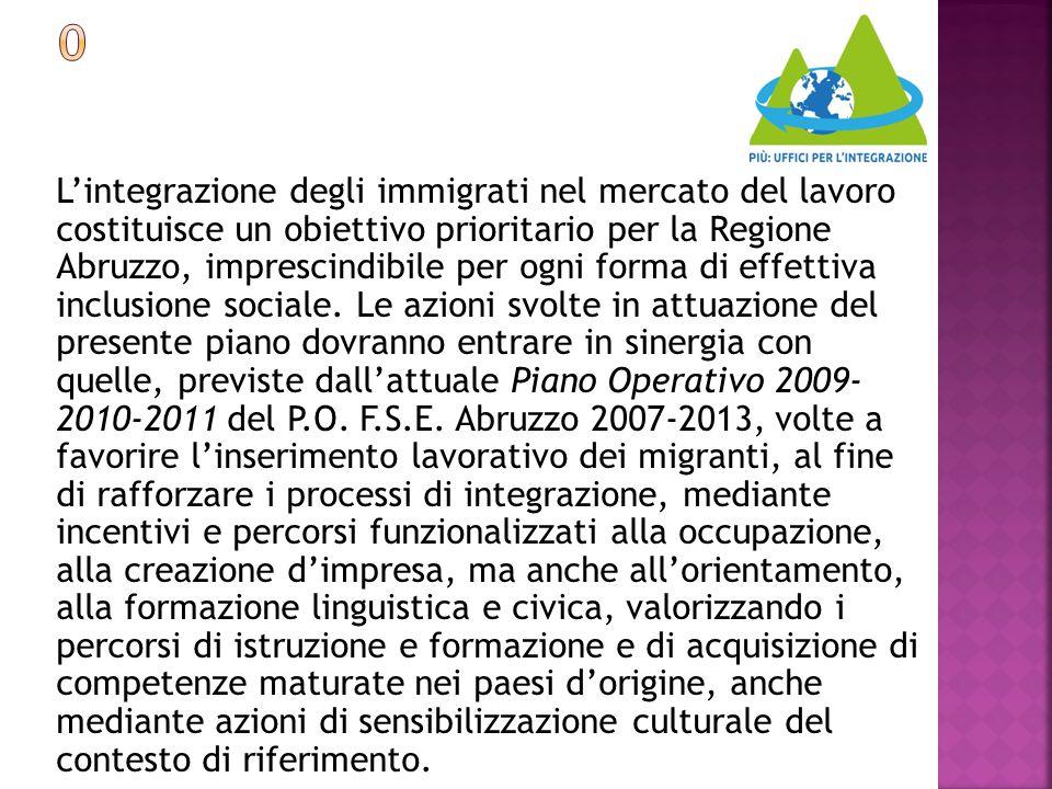 L'integrazione degli immigrati nel mercato del lavoro costituisce un obiettivo prioritario per la Regione Abruzzo, imprescindibile per ogni forma di e